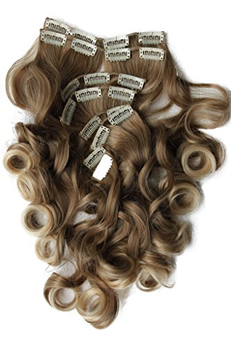 """PRETTYSHOP XXL Full Head Set 8 pcs 20"""" Clip In Hair Extensions Hairpiece Wavy Heat-Resisting dirty blonde mix # 12T613 CES119-1"""