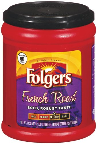 Folgers Coffee Ground French Roast, 10.3-Ounce Packages (Pack of 4)