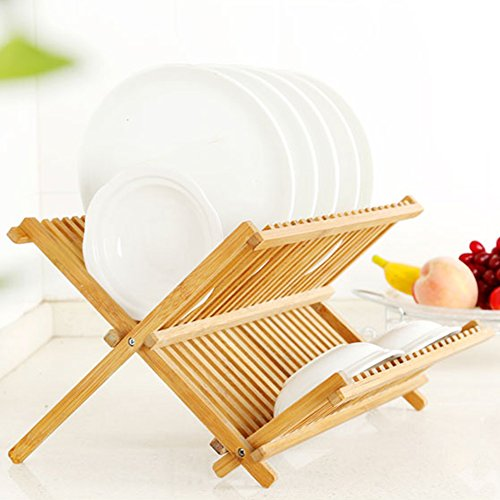 Dish Rack, Bamboo Dish Drying Rack, Collapsible 2-tier Dish