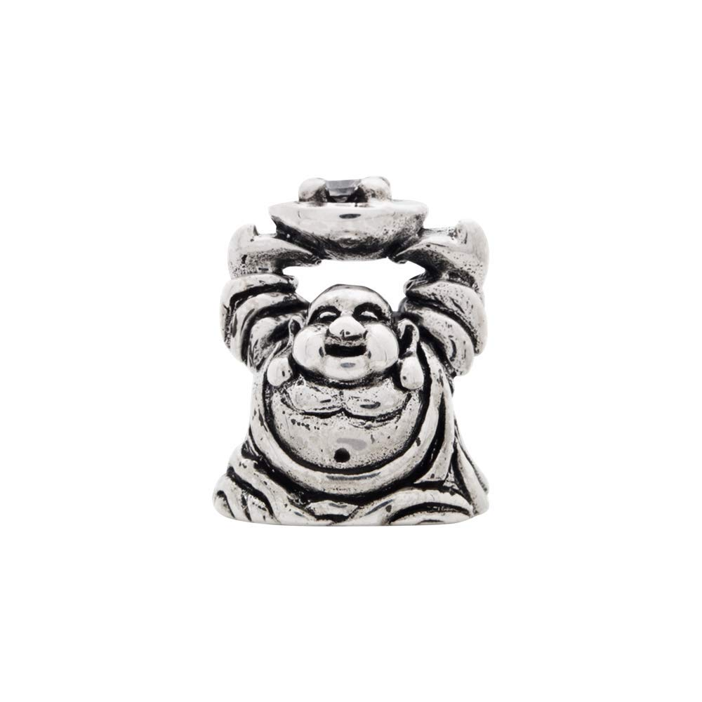 Roy Rose Jewelry Sterling Silver Reflection Beads CZ Buddha Bead