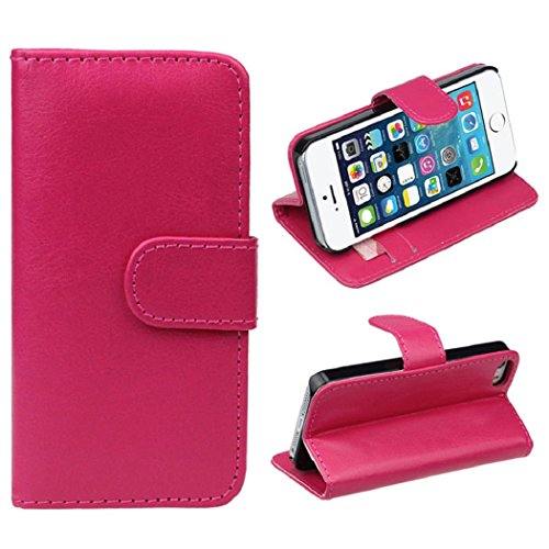 Changeshopping(TM)Retro Leather Wallet Flip Cover Case For Apple iPhone 5 5G 5S(Hot Pink)