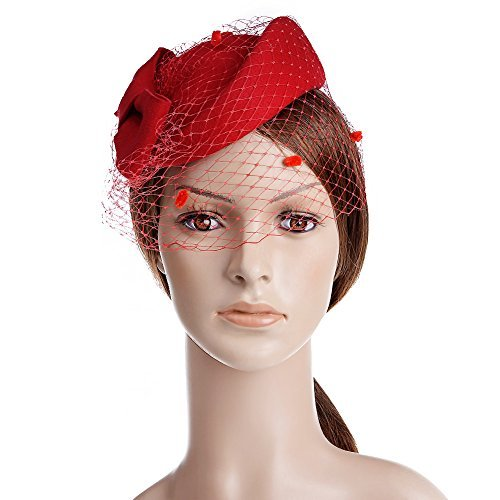 1950s Women's Hat Styles & History VBIGER Women Fascinator Hats Derby Wedding Hats Vintage Hat Pillbox Hat Woollen Felt Hat Bow Veil Party Hat for Women $21.99 AT vintagedancer.com