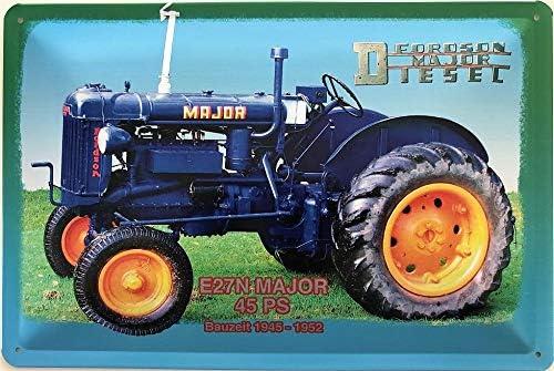 Deko7 Blechschild 30 x 20 cm Traktor Fordson Major E27N 45 PS Baujahr 1945-1952