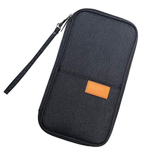 Travel Wallet Family Passport Holder, FLYMEI Document Organizer Travel Wallet with Hand Strap, RFID Blocking Document Organizer Bag Ticket Holder for Women/Men