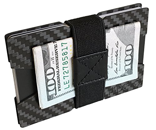 FIDELO Minimalist Wallets for Men - Slim Cash, ID & Credit Card Holder - Light Weight Front Pocket Mens Wallet - Includes 4 Money Clip Bands