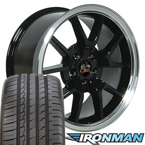 OE Wheels 18 Inch Fits Ford Mustang 1994-2004 FR500 Style FR05B Gloss Black with Machined Lip 18x9 Rims Ironman iMove Gen2 Tires SET