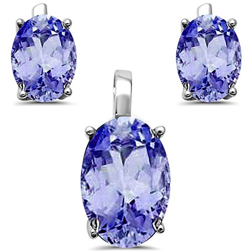 Best Seller Oval Cut Simulated Tanzanite .925 Sterling Silver Earrings And Pendant Set