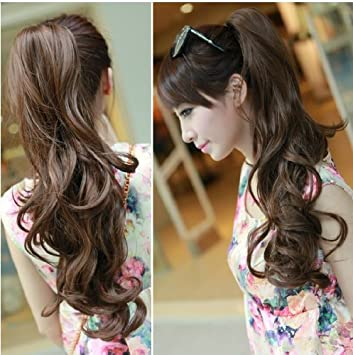 Amazon xy angel ladies curlywavy natural long wigs hair xy angel ladies curlywavy natural long wigs hair extensions clip claw ponytail 10 colors pmusecretfo Images