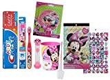 Disney Minnie Mouse Bow-Tique 6pc All Inclusive Girls Bathroom Collection! Toothbrush, Toothpaste, Brushing Timer, Rinse Cup, Night Light & Reward Stickers! Plus Bonus ''Remember to Brush'' Visual Aid!