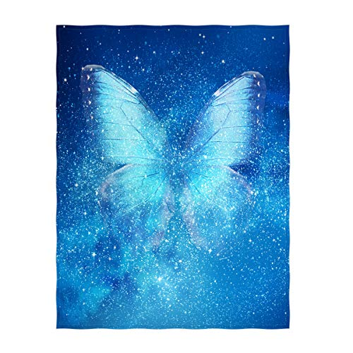 Butterfly Throw - QH 58 x 80 Inch Universe & Butterfly Super Soft Throw Blanket for Bed Couch Lightweight Blanket for All Seasons