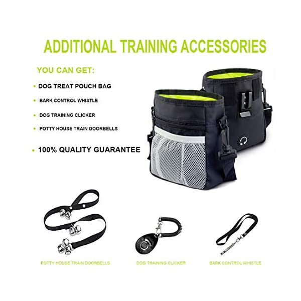 Odibess Dog Treat Bags, 4 in 1 Puppy and Dog Training Essential Kit, Including Adjustable Waist Belt and Shoulder Strap, Bark Control Whistle/Potty House Train Doorbells/Dog Training Clicker 5
