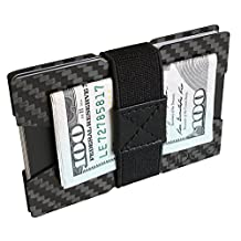 Slim Carbon Fiber Front Pocket Mens Wallet Money & Card Holder - Minimalist & Small Wallets for Men with Bills Clip Band