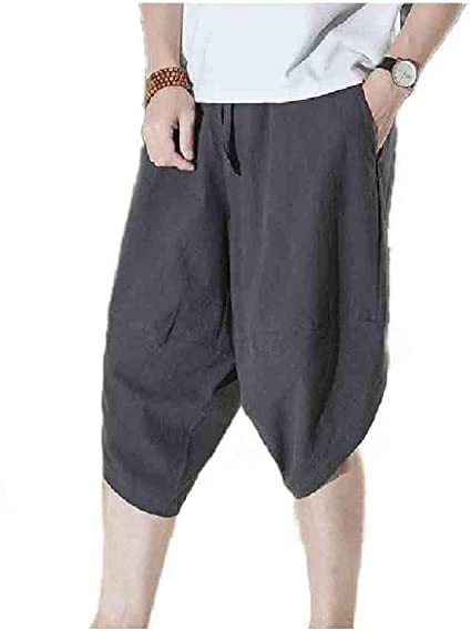 Beeatree Men 3/4 Pants High Low Summer Baggy Solid Colored Palazzo Trousers