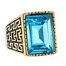 316L Stainless Steel Blue Crystals Retro Mens Greek Style Ring