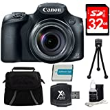 Canon PowerShot SX60 HS Digital Camera 32GB Bundle Includes 32GB SD Card, Compact Deluxe Gadget Bag, NB-10L Battery, Hi-Speed SD USB Card Reader, 5 Flexible Table-top Tripod & 3pc. Lens Cleaning Kit