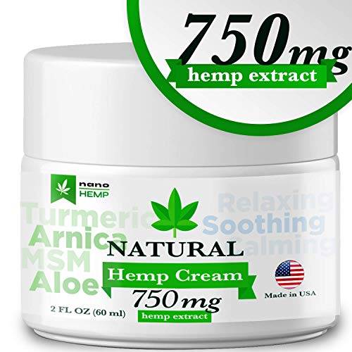 Hemp Cream Pain Relief, Organic Formula, for Arthritis, Psoriasis, Eczema, Sciatica, Neck, Back and Knee Pain, Contains Arnica, MSM, EMU Oil, Non-GMO- 750mg Extract, 2 oz