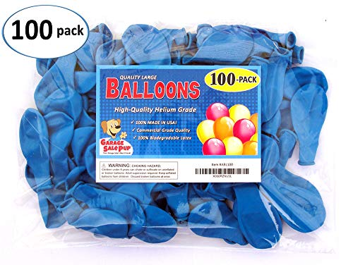 Pack of 100, Bright Blue Color Latex Balloons, Made in USA!