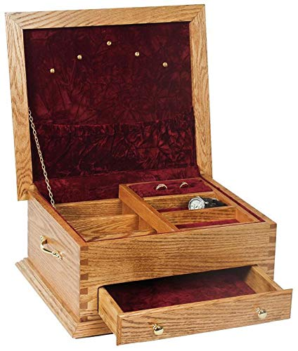 (Superior Woodcrafts Hardwood Deluxe Jewelry Chest with Lid (Rose Lid, Cherry))