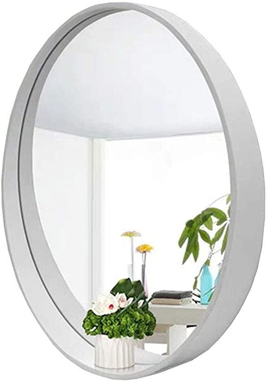 Amazon Com Simple Large Wall Mirror Stowable White Bathroom Makeup Mirror Round Wooden Frame Decorative Mirror For Bedroom Living Room Shop Vanity Mirror Mirror Size 50cm 19 7in Home Kitchen
