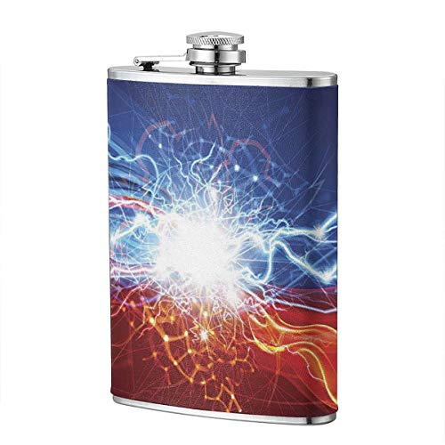 Shot Flask - Aurora Lightning Food Grade (304) Stainless Steel Flask Leakproof 8 Oz Hip Flask for Storing Whiskey Alcohol Liquor]()