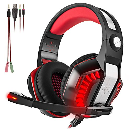 Beexcellent GM-2 Surround Sound Gaming Headset, Over Ear Noise Cancelling Headphones with Mic and LED Light, Stereo PC Headset for VR, Computer Game, PS4, Xbox One, iPad, Phone, Laptop Nintendo Switch