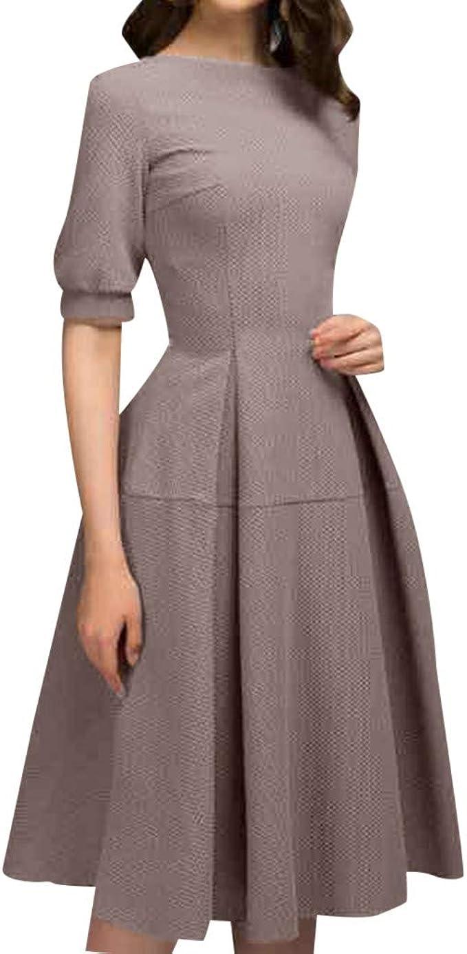 Damen Elegantes Knielang Kleider Vintage 8/8 Arm Partykleid Rundal  Midikleid 8er Jahre Flora Vintage Rockabilly Kleid Ballkleid Festlich  Hochzeit