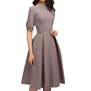 Amazon Com Alangbudu Women S Half Sleeve Retro Slim Cocktail A Line