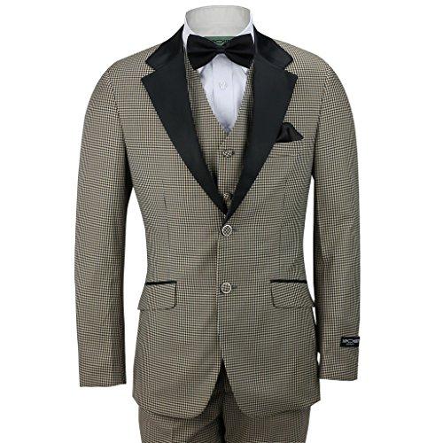 XPOSED Men 3 Piece Tweed Mini CheckFitted Tuxedo Wedding Suit Jacket Trouser Waistcoat[4-H1539-12,Chest UK 40 EU 50,Trouser 34
