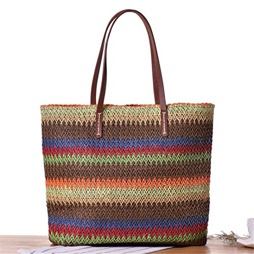 Manualbages Bag Stripe Women Summer Beach Straw Female Bag Big Bag Ladies Shopping Weave Brown Holiday Brown Ss3120