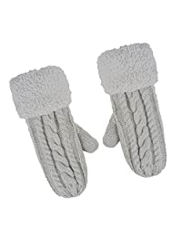 Women's Winter Gloves Warm Lining - Cozy Wool Knit Thick Gloves Mittens in 5 color