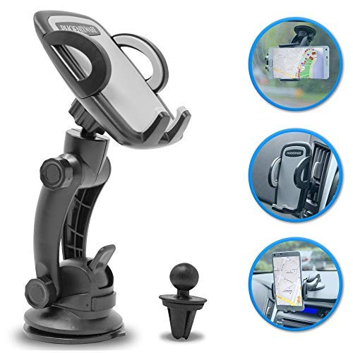 Car Phone Mount, Phoenixware 2 in 1 Car Cell Phone Holder for Dashboard Windshield and Air Vent Mount Compatible with iPhone X/8/7P/6S/6P/5S/5/4S/4 Samsung Galaxy S6/S5/S4/ Nexus LG Nexus and More
