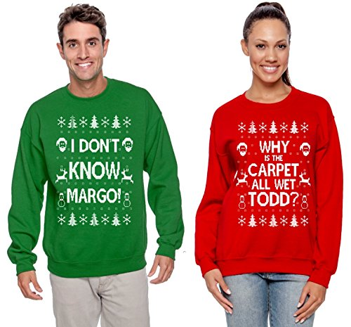 Christmas Vacation Ugly Sweater (Why is The Carpet All Wet Todd Margo Couples Ugly Christmas Vacation Sweatshirts Todd Red L Margo Green)