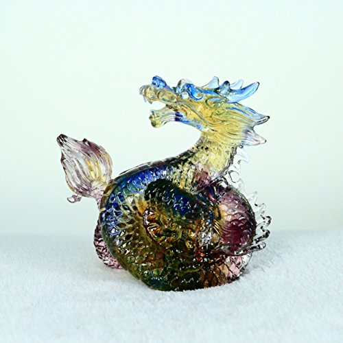 � Dragon, Pure Handmade Colored Glaze Liuli Crystal, Collectible Glass Art, A Classic Gift from Oriental.Feng Shui Products,Dragon Statue (Colored Glaze Crystals)
