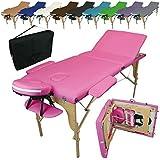 Vivezen Table de massage pliante 3 zones en bois avec panneau Reiki + Accessoires et housse de transport - 10 coloris - Norme CE - Rose