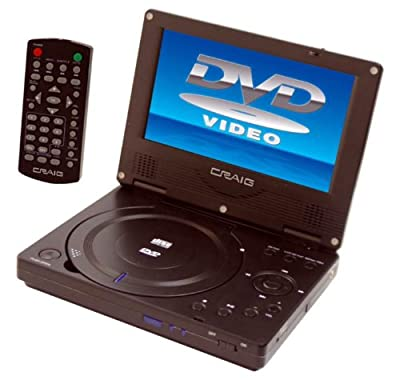 Craig 7-Inch TFTSWIVEL SCREEN Portable DVD/CD Player with Remote, Black (CTFT716n) by Craig Electronics