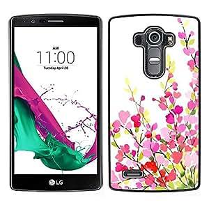 LECELL--Funda protectora / Cubierta / Piel For LG G4 -- Verde Rosa Blanco primavera púrpura --