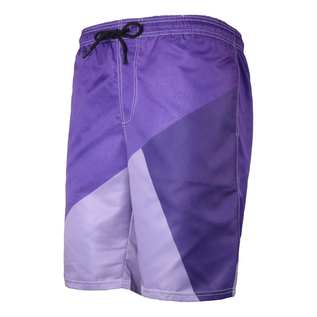 NUWFOR Men's Summer Fashion 3D Printed Shorts Recreational Sports Beach Pants(Purple,US L Waist:35.83'') by NUWFOR (Image #1)