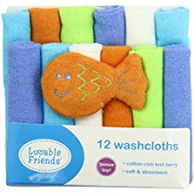Luvable Friends Unisex Baby Cotton Rich Washcloths, Blue Solid, One Size