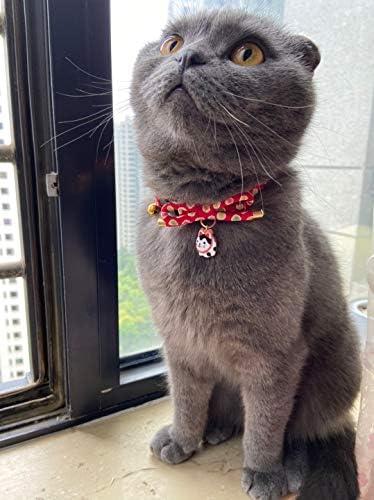 Collar de gato con campana, diseño de lazo con bonito abalorio de gato 5