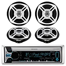 New Kenwood KMR-D765BT Bluetooth CD MP3 Marine Boat Yacht Bike AUX USB iPod Radio Player Stereo Receiver, 4 X Enrock 6.5 Inch Black/Chrome Marine Audio Speakers - Great Marine Outdoor Stereo Package by EnrockMarineBundle