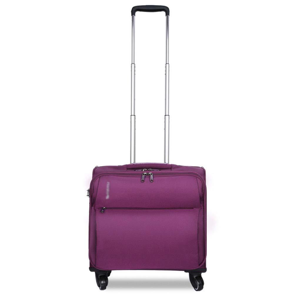 DS-トロリー トロリーケース - ポリエステル/PC、固定コードロック、コンピューターライナー付き、スタイリッシュなビジネス多機能ユニバーサルホイール防水オックスフォード布旅行搭乗スーツケース - 3色、2サイズあります。 && (色 : Purple, サイズ さいず : 46*24*46cm) 46*24*46cm Purple B07MMGCZ7N