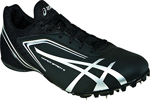 ASICS Men's Hypersprint 5 Running Shoe,Black/Silver,11.5 M (Track Shoe)