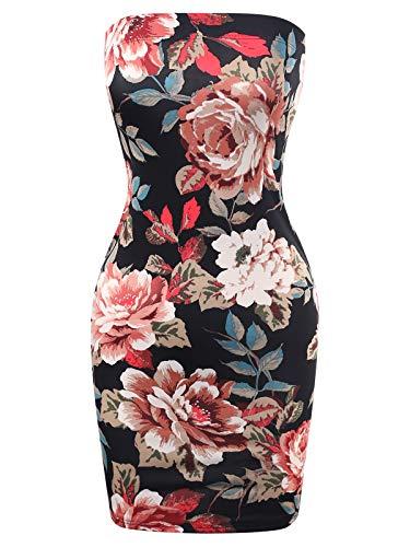 BEYONDFAB Women's Tube Cotton Fitted Mini Dress Black Flower Print S