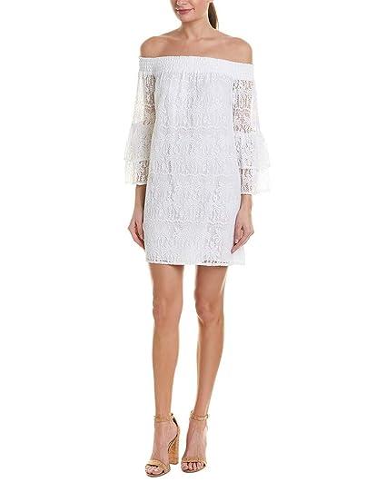 5c1aaf37286 Lilly Pulitzer Women's Tobyn Tunic Dress Resort White Palm Tree Lace Small