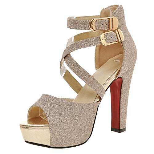 Gold TAOFFEN High Women Heel Sandals Fashion Party BUSUwxzqF8