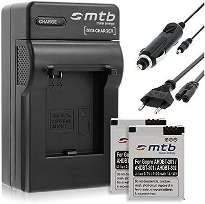 2X Baterías AHDBT-201/301 + Cargador para Gopro Hero3 Black, White & Silver Edition -1100mAh-