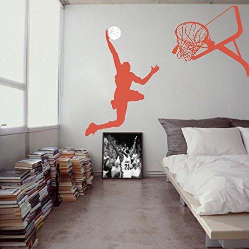 MairGwall Basketball Player Dunk Ball Michael Jordan - Wall Decal Vinyl Sticker Kid's Bedroom D¨¦cor (Basketball Rim Paint compare prices)