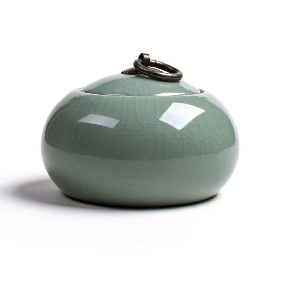 HenryDong Handmade Crack Ceramic Pet Urn for Dogs, Cats,Rabbits, Small Animals, Memorial Cremation Ash Funeral Burial Urn Keepsake, Forever Memory Box Memorial(Cyan/Green/Blue)