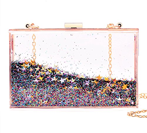 Jevenis Womens Transparent Sequins Chain Clutch Evening Handbag Party Cross-body Purse (New Multicoloured)
