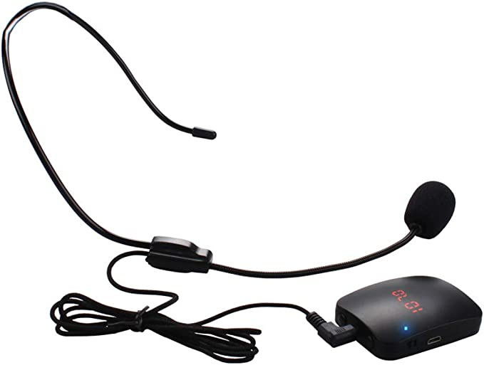 FM Wireless Microphone Headset System Hands-Free Lapel Microphone ...